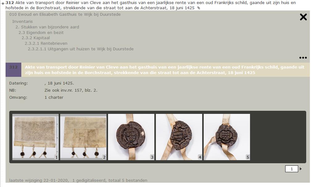 Een voorbeeld van gedigitaliseerde stukken bij een inventarisnummer