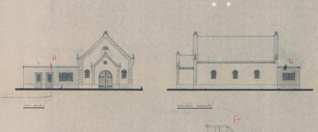 Uitname uit het plan voor aanbouw van kerk voor de Oud-Gereformeerde Gemeente in Nederland, Cotherweg 25 te Langbroek