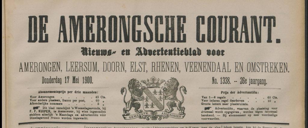 Uitsnede van het voorblad van de Amerongsche Courant van 17 mei 1900