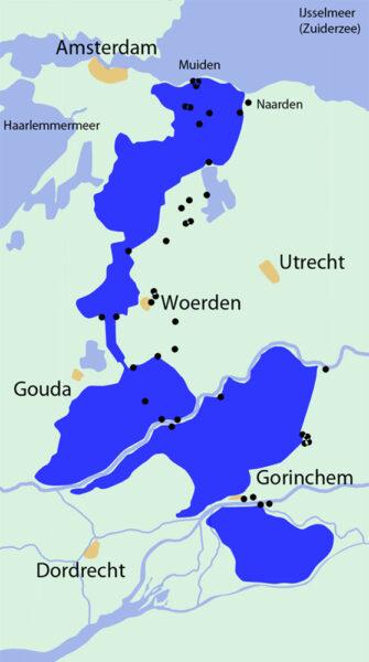 Een kaartje van het gebied van de Oude Hollandse Waterlinie