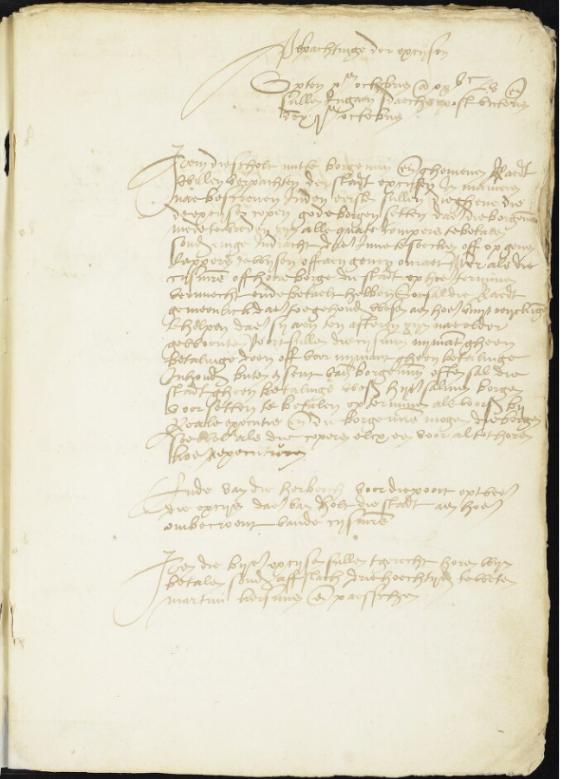 Eerste pagina van het policieboek van 1556-1569 Rhenen