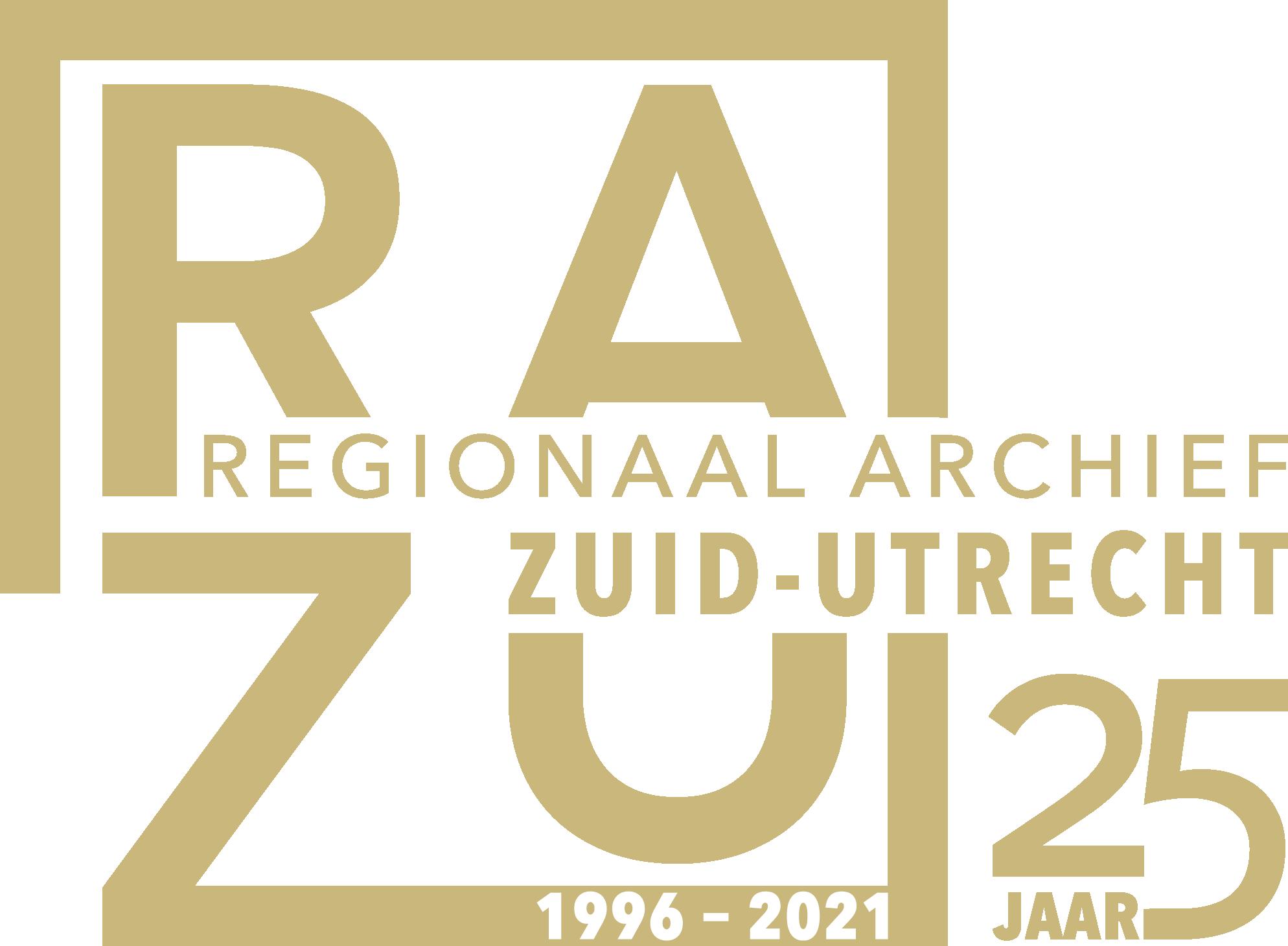 """Het logo van het Regionaal Archief Zuid-Utrecht in zandgele kleur met een vermelding naar het jubileum in de vorm van de tekst """"25 jaar 1996 - 2021"""""""